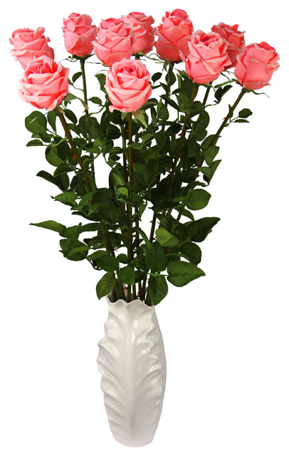 florence pink silk floral arrangement with pink french roses in a white vase bauhaus look. Black Bedroom Furniture Sets. Home Design Ideas