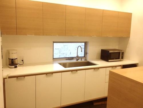 Quartersawn oak cabinets in a modern kitchen