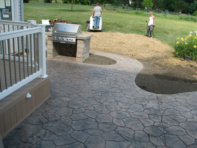 azek vinyl deck colored stamped concrete patio patio other metro