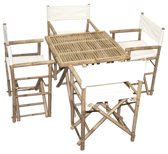 Directors Chair And Table Set: Bamboo Square Table And Director Chairs 5-Piece Set, Black