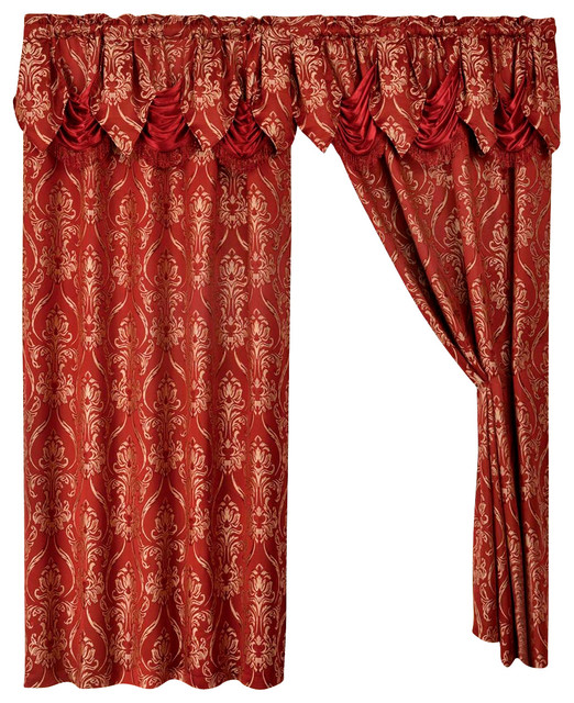 2 Penelopie Curtain Panels With Attached Austrian Valance
