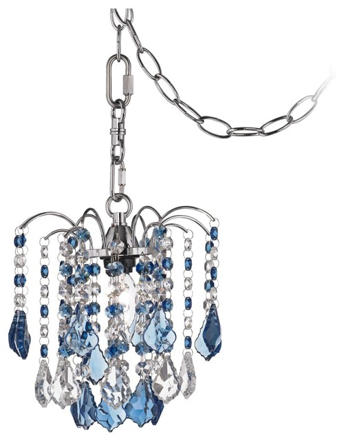 Contemporary Nicolli Blue Crystal Eight Wide Swag Plug In Mini Chandelier Contemporary Chandeliers