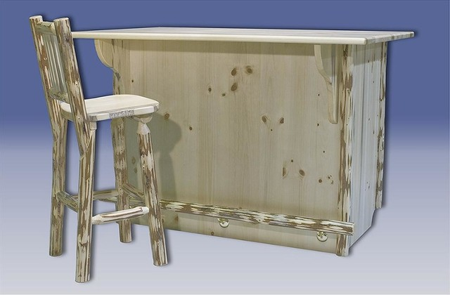 Montana Bar W Foot Rail Unfinished Rustic Wine And Bar Cabinets By Shopladder