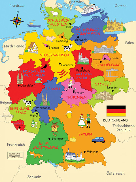 Deutschlandkarte - Map of Germany - Traditional - Kids Wall Decor - Other - by Posterlounge