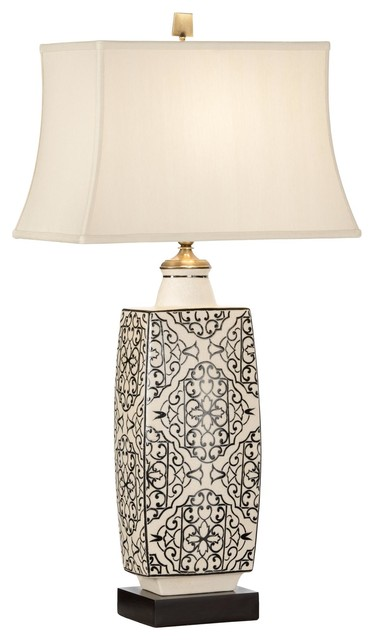 embroidered bottle 1 light std bulb table lamp in dark wood eclectic table lamps by. Black Bedroom Furniture Sets. Home Design Ideas