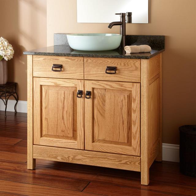 36 Mission Hardwood Raised Panel Vessel Sink Vanity Transitional Bathroom Vanities And Sink