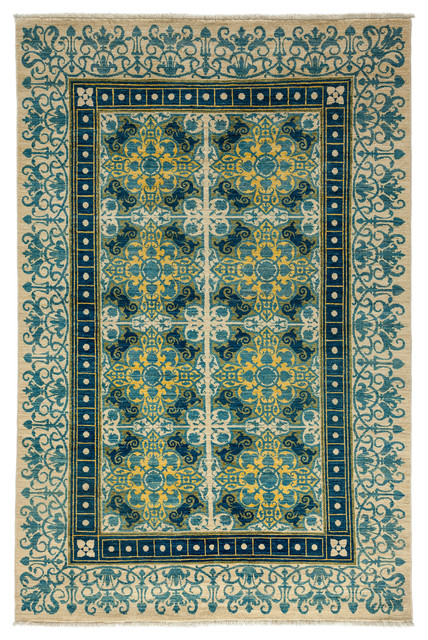 Suzani Wool Area Rug Ivory 6x9 Transitional Area Rugs