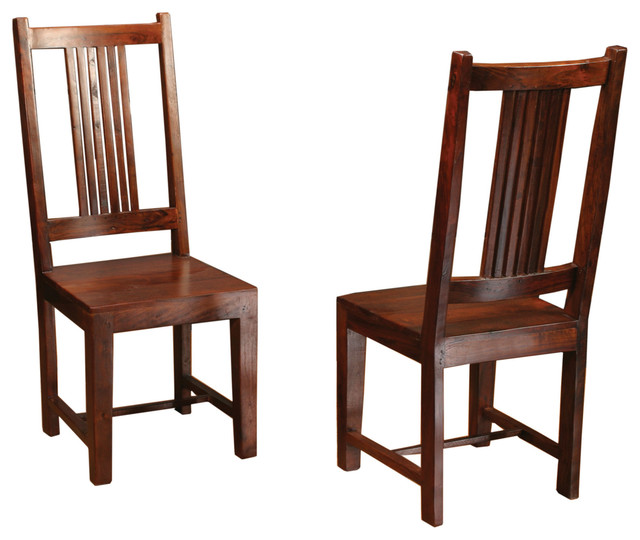 Sheesham Solid Wood Dining Chair with Splat Back - Arts  Crafts