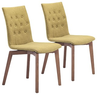 Set of 2 zuo orebro pea green accent chairs contemporary for Kitchen and table orebro