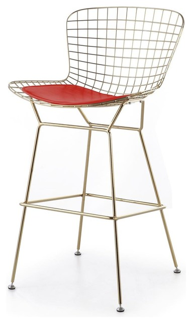 wire counter stool gold finish red seat pad modern