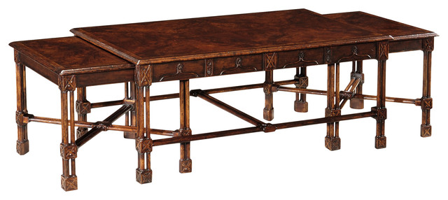 Jonathan Charles Chippendale Gothic Nesting Tables 493483 Traditional Coffee Table Sets By