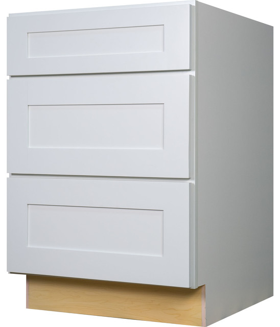 "White Shaker 3-Drawer Base Kitchen Cabinet, 36""x34.5""x24"" - Contemporary - Kitchen Cabinetry ..."