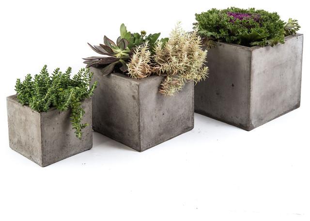cubo planter charcoal gray large modern pflanzk bel. Black Bedroom Furniture Sets. Home Design Ideas