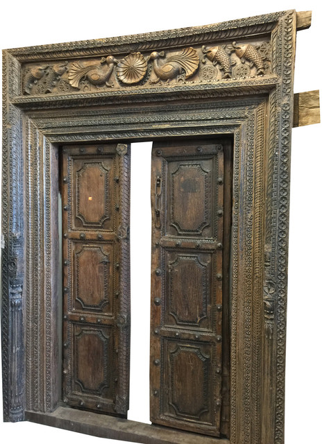 Consigned Double Door Frame Rustic Peacock Hand Carved