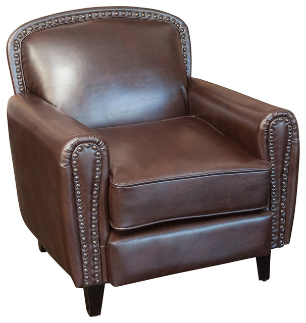 Damien Brown Leather Club Chair Contemporary Armchairs