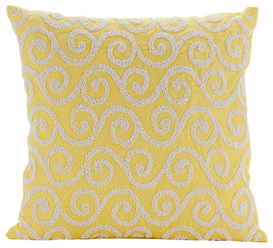 Yellow Silk Decorative Pillows : Beaded Scroll 14