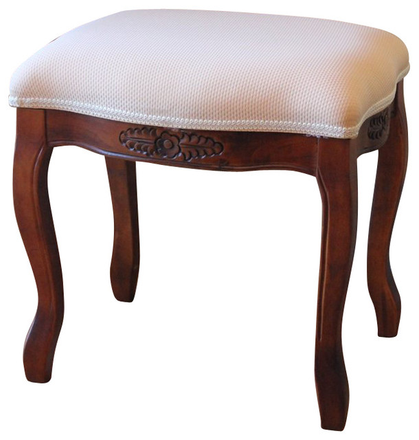International Caravan Windsor Vanity Stool In Dual Walnut