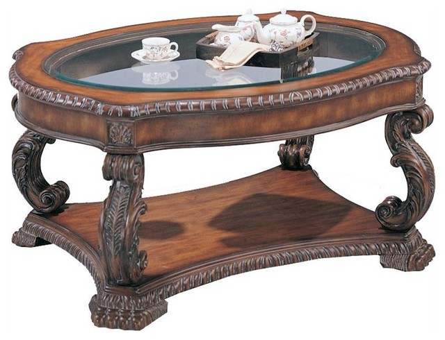 Coaster Doyle Traditional Oval Cocktail Table With Glass Inlay Top Traditional Coffee Tables