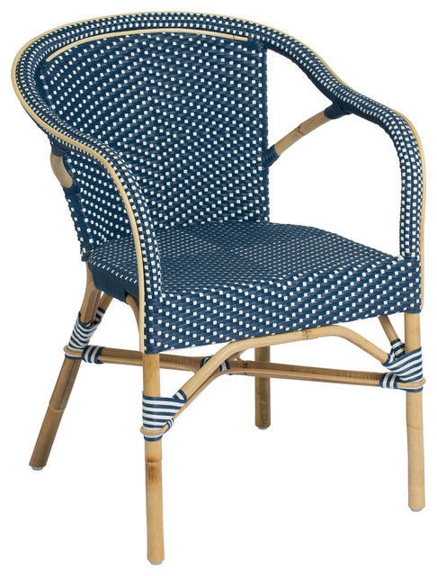 Madeleine Outdoor Bistro Arm Chair Navy and White  : contemporary garden dining chairs from www.houzz.co.uk size 486 x 640 jpeg 115kB