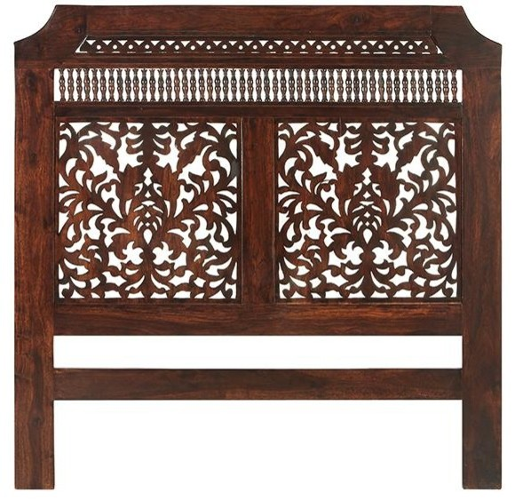 Maharaja headboard queen brown wood traditional Traditional wood headboard