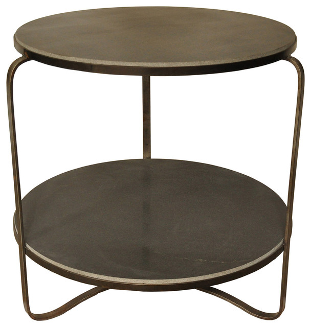 noir evan side table metal stone modern outdoor side tables. Black Bedroom Furniture Sets. Home Design Ideas