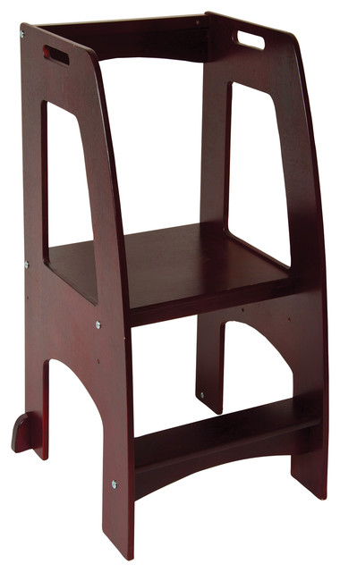 Step up kitchen helper espresso transitional kids step for Kitchen helper stool