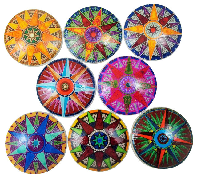 Set of 8 Colorful Compass Rose Oversized Cabinet Knobs - Contemporary - Cabinet And Drawer Knobs ...