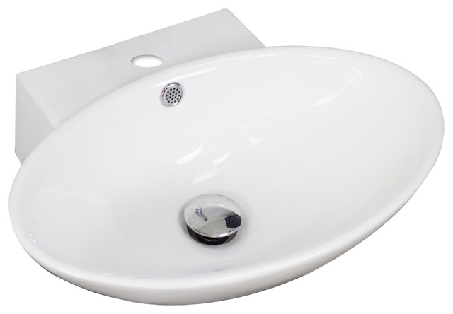 wall mount oval vessel for single hole faucet 21 x15 contemporary bathroom sinks by posh. Black Bedroom Furniture Sets. Home Design Ideas