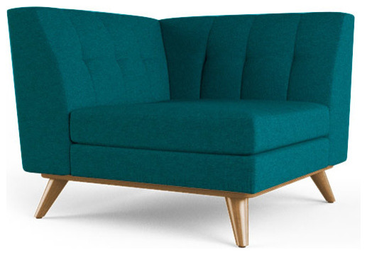 Hughes Corner Chair Lucky Turquoise Blue Midcentury