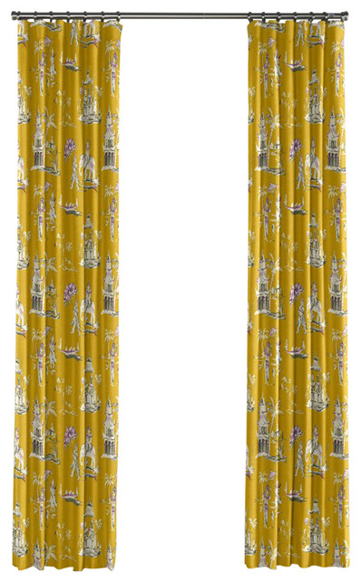 Purple And Yellow Chinoiserie Curtain Single Panel Ring Top Asian Curtains By Loom Decor