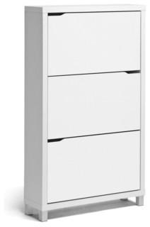 Simms Modern Shoe Cabinet, White - Scandinavian - Shoe Storage - by Baxton Studio