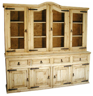 Monterrey Large Rustic Pine Cupboard - China Cabinets And Hutches - by Indeed Decor