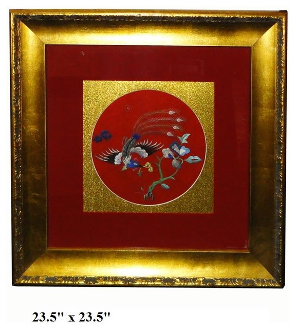 framed chinese embroidery flower phoenix wall decor tropical home decor