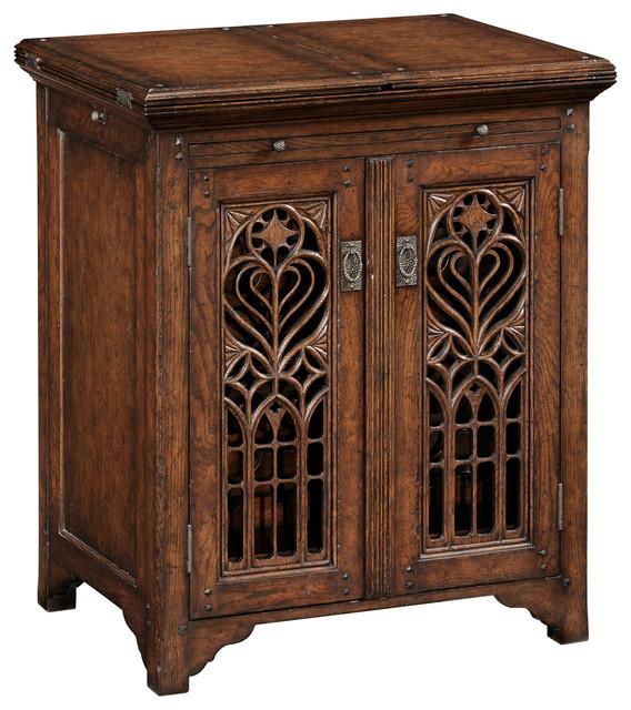 Jonathan Charles Dark Oak Gothic Wine Cabinet Small 493517