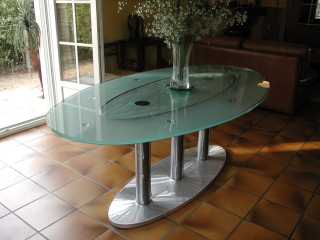 Table haute en verre ovale atelier in vitro contemporary din - Table ovale verre extensible ...