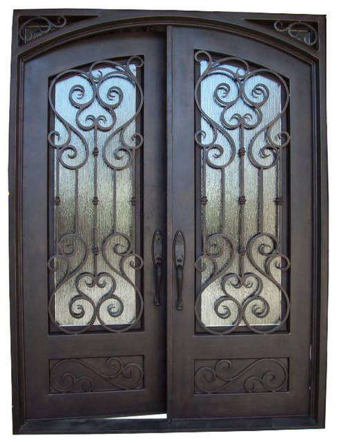"""62""""x80 3/4"""" Lite Metal Painted Wrought Iron Front Entry Door - Modern - Front Doors - by kbddesigns"""