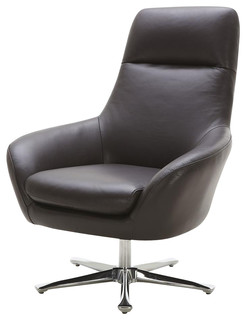 Navis Leather Arm Chair In Brown Modern Armchairs Accent Chairs B