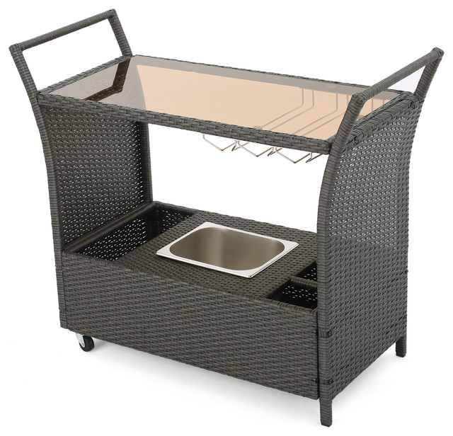 Mystique Outdoor Bar Cart Gray Tropical Serving Carts