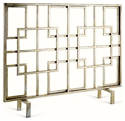 Antiqued silver squares firescreen contemporary for Silver fireplace doors