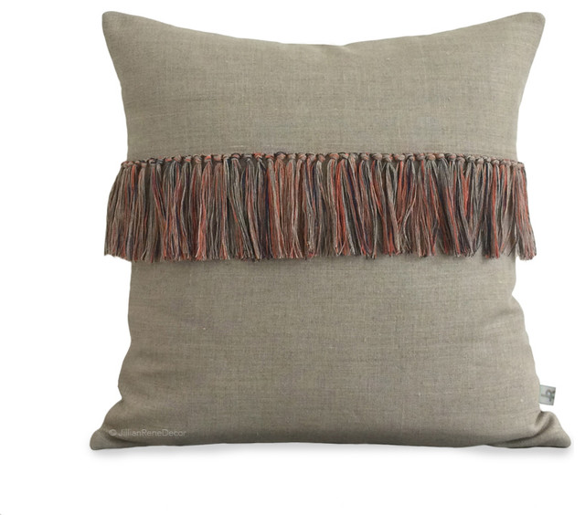 Decorative Throw Pillows With Fringe : Orange Fringe Pillow Cover in Natural Linen, Hand Knotted Pillow, 16