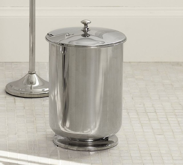 Mercer lidded trash can contemporary wastebaskets sacramento by pottery barn Lidded trash can for bathroom