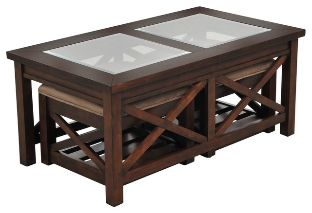 Paige Cocktail Table With 2 Ottomans Coffee Tables Los Angeles By Living Spaces