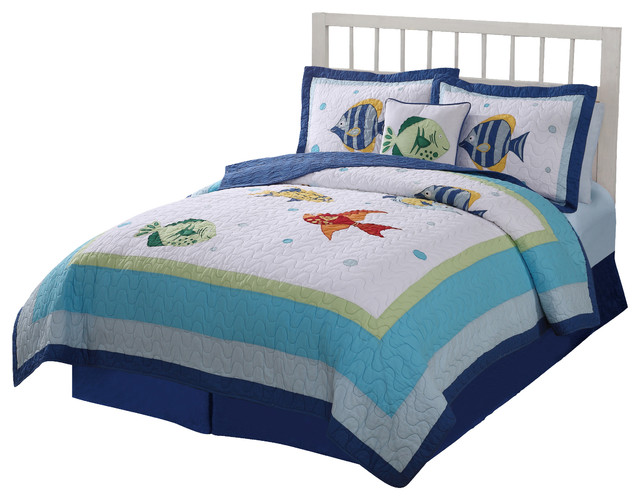 colorful sea full queen quilt with 2 shams bord de mer linge de lit et parure enfant par. Black Bedroom Furniture Sets. Home Design Ideas