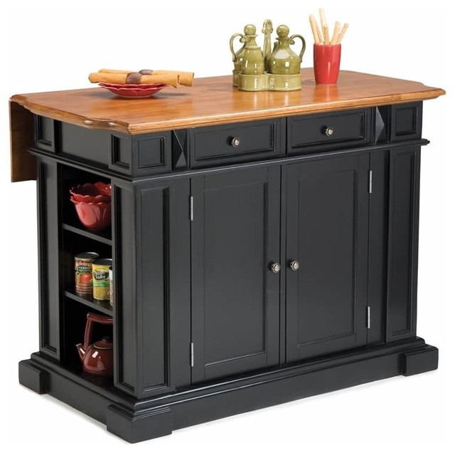 home styles kitchen island with breakfast bar black moderne klassik k chen servierwagen. Black Bedroom Furniture Sets. Home Design Ideas