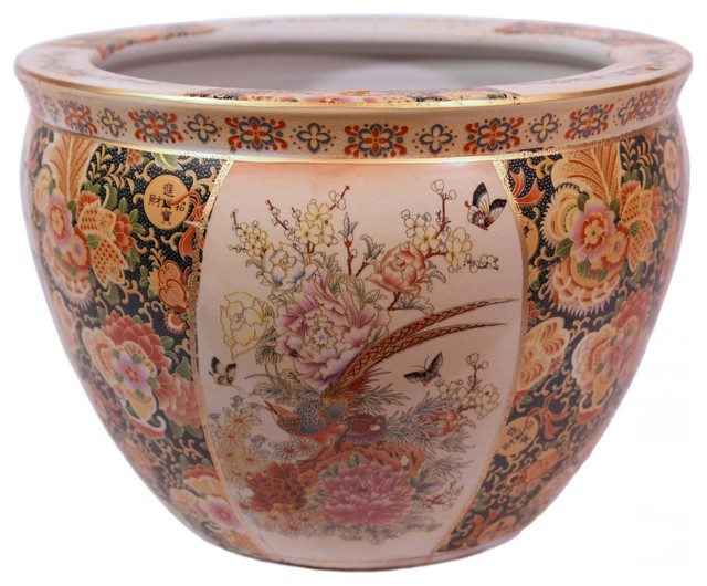 Chinese porcelain fish bowl planter glazed satsuma for Chinese fish bowl planter