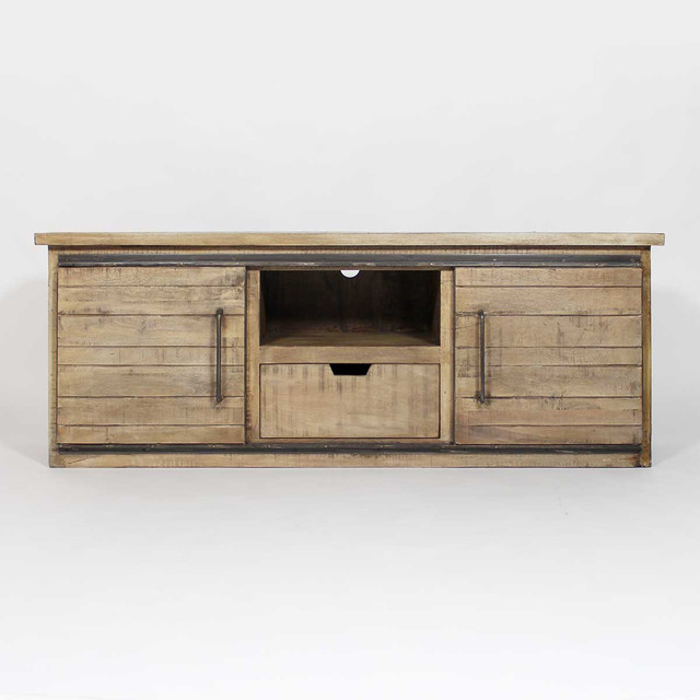 meuble t l industriel en bois clair industriel. Black Bedroom Furniture Sets. Home Design Ideas