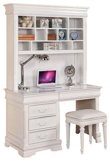 Acme Classique Computer Desk and Hutch, White traditional-desks-and