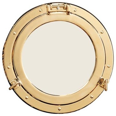 8 polished brass porthole mirror beach style wall for Porthole style mirror