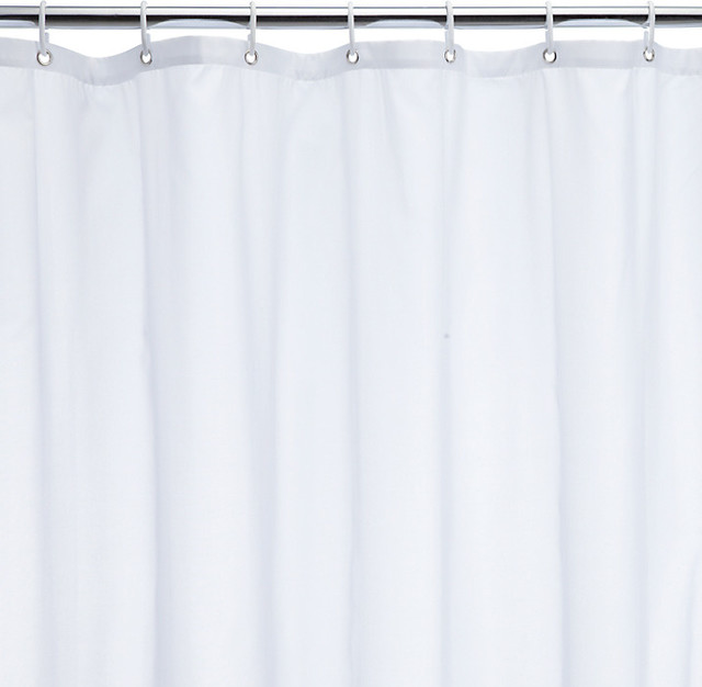 the basics polyester shower curtain white modern