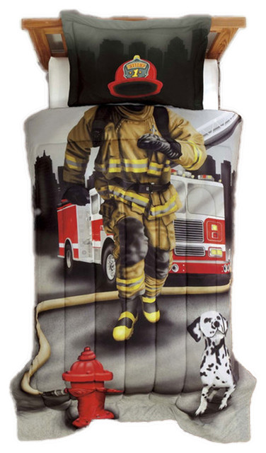 Firefighter Twin Comforter Set Fireman Truck Bedding Contemporary Kids Bedding By Obedding